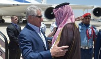 U.S. Defense Secretary Hagel is welcomed by Saudi Deputy Defense Minister Salman bin Sultan upon his arrival at King Abdulaziz International Airport in Jeddah