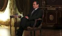 Egypt's presidential candidate and former army chief Abdel Fattah al-Sisi, attends an interview with Reuters in Cairo