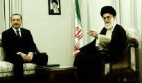 Iran's Supreme Leader Ayatollah Ali Khamenei (R) speaks with Turkish officials while meeting Turkey's Prime Minister Tayyip Erdogan in Tehran December 3, 2006. REUTERS/ISNA (IRAN) - RTR1K0EK